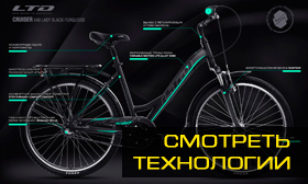 Велосипед LTD Cruiser 640 Lady Black-Turquoise (2020)
